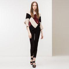 Pullover cremeweiß und bordeauxrot