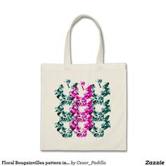 Floral Bougainvillea pattern in pink and blue Budget Tote Bag. #Floral #Art