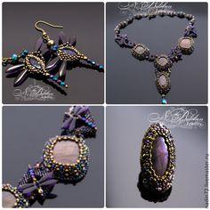 Купить Комплект украшений с фиолетовым лабрадоритом - фиолетовый, радужный, павлинья расцветка, стрекоза, колье, перстень