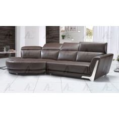 Right Chaise Dark Brown Italian Leather Sectional Sofa Set - DIY Decorating & Furniture Leather Sectional Sofas, Modern Sectional, Living Room Sofa Design, Living Room Furniture, Steel Sofa, Sofa Legs, Foam Cushions, Italian Leather, Dark Brown