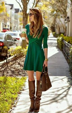Green dress and brown boots http://www.allthingsvogue.com/best-affordable-over-the-knee-boots/