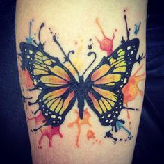 Pretty, but with a dragonfly... maybe? My friend just got this watercolor tattoo. So beautiful. I love it. Butterfly Watercolor tattoo.
