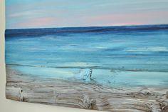 Ocean Beach Painting Reclaimed Wood Beach Decor Rustic Wall