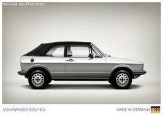 Firstcar Illustrations | Personalized Car Illustrations | Volkswagen Golf GLI 1980