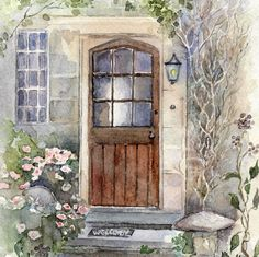 A beautiful watercolour of a Door in the Cotswolds by Muriel Law