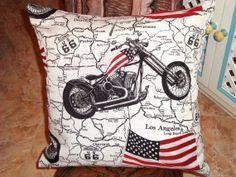 USA flag  Power star Retro woven motorcycle pillow by SABDECO, €21.00