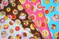 Kawaii Sweets Print Japanese Fabric Scraps by beautifulwork, $8.50