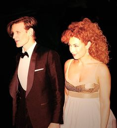a beautiful picture of matt smith and alex kingston, or as they are known on doctor who, the doctor and river song.