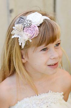Flower Girl Headband, Gray, Pink, Cream, Rhinestone Brooch, Lace, Bridal Hairpiece. $15.00, via Etsy.