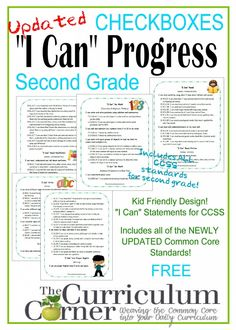 """Kid Clip Art I Can Statements Checkboxes by The Curriculum Corner FREE Updated standards! These updated """"I Can"""" poster use the original & apparently very popular clip art from our first set of posters!"""