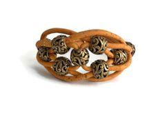 Magnifica pulseira de cortiça com zamak bijuteria by CozyDetailz