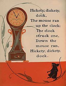 Nursery Rhyme: Hickety Dickety Dock, illustrated by William Wallace Denslow, from a 1901 Mother Goose collection Nursery Rhymes Lyrics, Old Nursery Rhymes, Nursery Songs, Nursery Rymes, Hickory Dickory Dock, Rhymes Songs, Kids Poems, Rhymes For Kids, Vintage Nursery