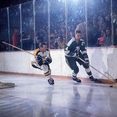Bruin Wayne Cashman prepares to slash Minnesota North Star captain, Ted Harris Hockey Shot, Women's Hockey, Hockey Games, Hockey Players, Baseball, Sports Images, Sports Art, Minnesota North Stars, Boston Bruins Hockey
