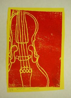 musical instrument prints made from contour drawings on styrofoam, then printed