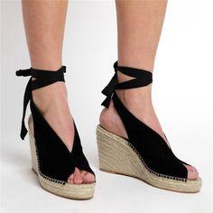 ad4758573 Espadrille Ankle Tie Sandals Peep Toe Wedge Sandals - gifthershoes Peep Toe  Wedges, Wedge Sandals