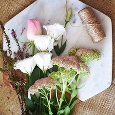 A summer flower recipe - lisianthus, sedum, roses, shultzia