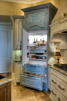 Blue Built-in Refrigerator _ Simply Southern Interiors LLC Interior Designers & Decorators _ Beautiful custom cabinetry from Norica Fine Cabinets in Chattanooga TN