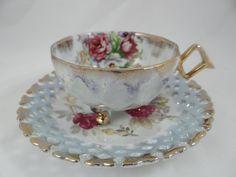 1930s Vintage Royal Halsey Lattice - 3 footed cup