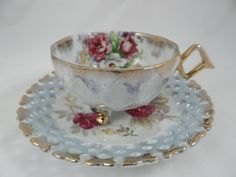 1930s Vintage Royal Halsey Lattice - 3 footed cup