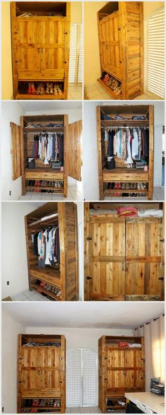 Recycled Wood Pallets Made Wardrobe with Shoe Storage