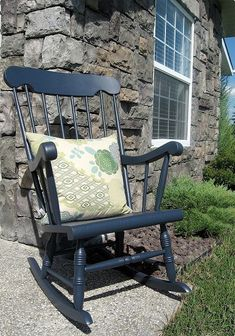 i exterior painted a 15 rocking chair from goodwill now i can rock and no one will, painted furniture