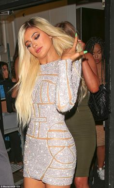 Kylie Jenner wears blonde wig and glitzy mini-dress for 18th birthday #dailymail
