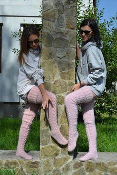 Thigh high socks Sexy stockings EXTRA LONG Slouchy leg warmer Over knee socks Boot socks Gift for her Knitted socks Custom socks Thigh High Leggings, Thigh High Socks, Thigh Highs, Cozy Fashion, Fashion Socks, Knitted Booties, Knitted Tights, Lace Socks, Boot Socks