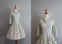 50s Dress / 1950s Day Dress / 50s White Floral Shirtwaist Dress / Vintage Dress. $58.00, via Etsy.