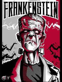 Frankenstein by Artist Don Motta.    https://behance.net/gallery/Mes-del-Horror-Kanniz-Lab/11858657 and/or https://behance.net/insidemotta