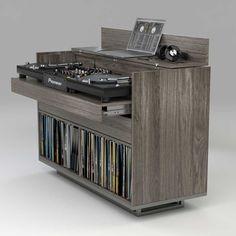 New music room furniture vinyl storage Ideas Music Studio Room, Studio Desk, Studio Furniture, Music Furniture, Apartment Furniture, Furniture Design, Dj Equipment For Sale, Dj Stand, Dj Table