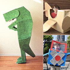 DIY Cardboard Box Halloween Costumes - Love the dinosaur!