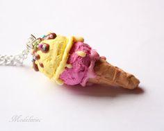 Naszyjnik lód gałkowy/Polymer clay ice cream necklace #polymerclay #icecream #necklace