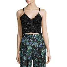 Haute Hippie Junk Sequin Cropped Bustier ($395) ❤ liked on Polyvore featuring tops, black and haute hippie