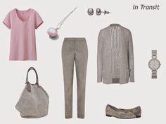 A capsule wardrobe in a grey and pink color palette inspired by art: Peripheral Vision 2 by Elis Cooke