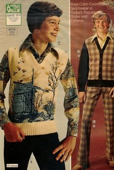 boys fashions from JC Penney, 1970s.  I had forgotten those sweaters with landscapes on them.