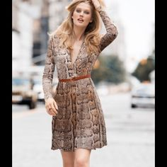 H&M Snakeskin Wrap Dress Snakeskin wrap dress with tie, 3/4 length sleeves. Great dress to go from day to evening. Pair with a skinny belt and clutch. H&M Dresses Midi