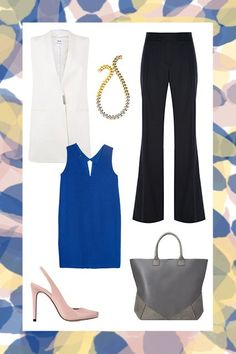 5 Interview Outfits That Don't Involve Pantsuits #refinery29  http://www.refinery29.com/interview-outfit-guide#slide-6  The Glass-Ceiling Shatterer A corporate job calls for a look that doesn't rock the boat, but shows your future boss that you're a level-headed, problem-conquering professional. A leg-lengthening trouser, no-nonsense tote, and sleek layers up top are your best friends, here....