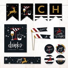 Holiday Glitz Red & Gold | Instant Download PRINTABLE Party Collection by HWTM