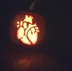 Successfully carved a human heart into a pumpkin.