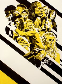 """NXT: Finn Balor, Kevin Owens, Hideo Itami, Baron Corbin, Bayley, Sasha Banks, Becky Lynch, Charlotte, Adrian Neville and Sami Zayn.Ink and liquid acrylic on 22"""" x 30"""" watercolor paperhttp://www.robschamberger.com"""