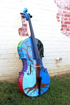 Hand Painted Cello Four Seasons Tree winter summer spring and fall--decorated instrument by LisforLuckyCreations.  Bright colors and piano keys! Art artwork