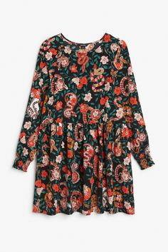 Monki Floral print dress in Red Yellowish