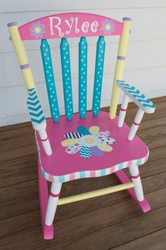Hand Painted Whimsical Personalized Child Rocking Chair by hughese, $215.00