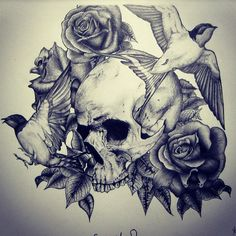 skull roses birds tattoo