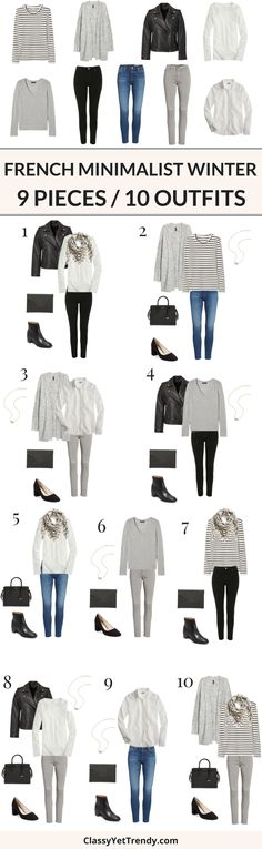 9 Pieces / 10 Outfits (French Minimalist Winter) - Turn 9 tops and bottoms into 10 outfits, French Minimalist style! Basic essentials are an important to a wardrobe as they can easily mix and match with one another. Featured pieces are a tee, sweater, cardigans, shirts, leather jackets, blue jeans, black jeans, gray jeans, boots, pumps, handbag, clutch and scarf.