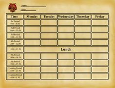 HL: Blank Timetable by TargeBunny on DeviantArt