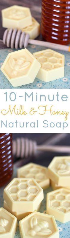 Milk & Honey Soap: This easy DIY soap can be made in about 10 minutes & has great skin benefits from the goat's milk and honey. Great homemade gift idea!