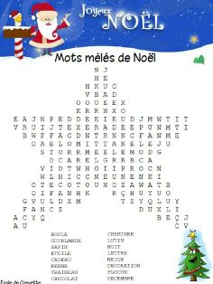 One activity a day before Christmas - Shrimp School, Education Christmas Crossword, Christmas Worksheets, Christmas Word Search, Christmas Words, French Worksheets, French Education, Days Before Christmas, French Christmas, French Classroom