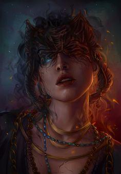 "annahelme: "" Death Godlike Pillars of Eternity fanart "" High Fantasy, Dark Fantasy Art, Fantasy Artwork, Fantasy Portraits, Character Portraits, Character Art, Fantasy Characters, Female Characters, Witch Characters"