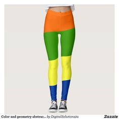Color and geometry abstract pattern leggings